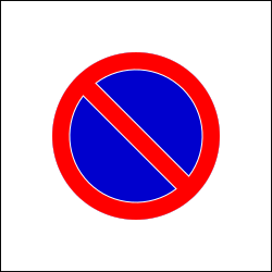 Traffic sign of Romania: Begin of zone where parking is prohibited