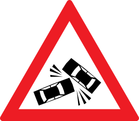 Traffic sign of Romania: Warning for accidents
