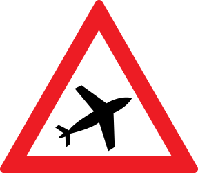 Traffic sign of Romania: Warning for low-flying aircrafts