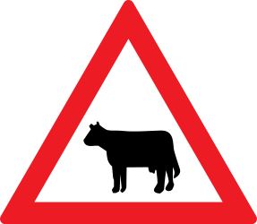 Traffic sign of Romania: Warning for cattle on the road
