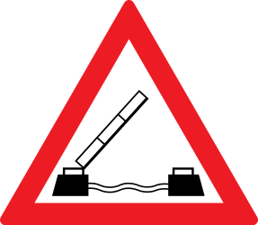 Traffic sign of Romania: Warning for a movable bridge