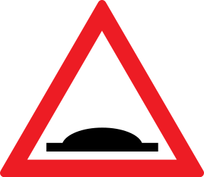Traffic sign of Romania: Warning for a speed bump