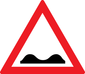 Traffic sign of Romania: Warning for a bad road surface