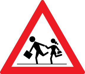 Traffic sign of Romania: Warning for children