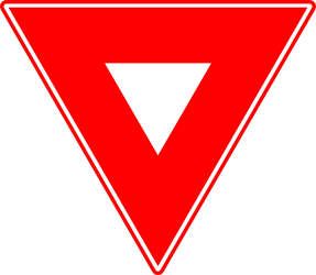 Traffic sign of Romania: Give way to all drivers