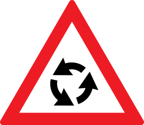 Traffic sign of Romania: Warning for a roundabout