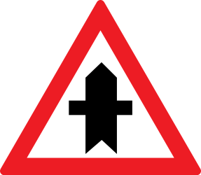 Traffic sign of Romania: Warning for a crossroad side roads on the left and right