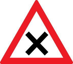 Traffic sign of Romania: Warning for an uncontrolled crossroad
