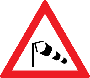 Traffic sign of Romania: Warning for heavy crosswind