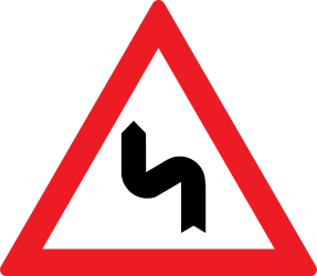 Traffic sign of Romania: Warning for a double curve, first left then right