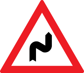 Traffic sign of Romania: Warning for a double curve, first right then left