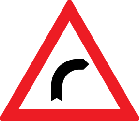 Traffic sign of Romania: Warning for a curve to the right