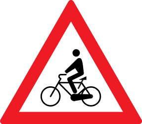 Traffic sign of Romania: Warning for cyclists