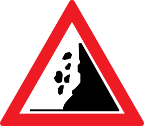 Traffic sign of Romania: Warning for falling rocks