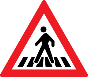 Traffic sign of Romania: Warning for a crossing for pedestrians