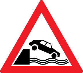 Traffic sign of Romania: Warning for a quayside or riverbank