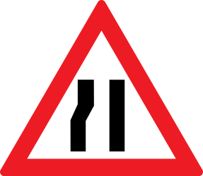Traffic sign of Romania: Warning for a road narrowing on the left