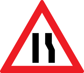 Traffic sign of Romania: Warning for a road narrowing on the right