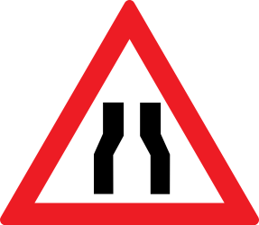 Traffic sign of Romania: Warning for a road narrowing