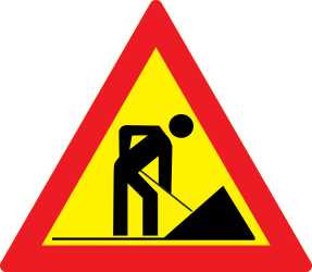 Traffic sign of Romania: Warning for roadworks