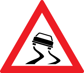 Traffic sign of Romania: Warning for a slippery road surface