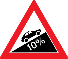 Traffic sign of Romania: Warning for a steep ascent