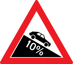 Traffic sign of Romania: Warning for a steep descent