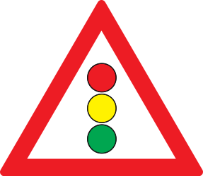 Traffic sign of Romania: Warning for a traffic light