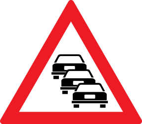 Traffic sign of Romania: Warning for traffic jams
