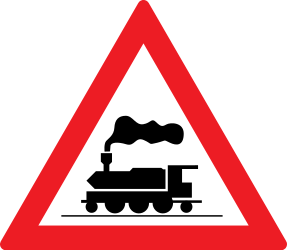 Traffic sign of Romania: Warning for a railroad crossing without barriers