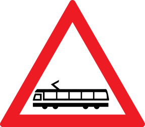 Traffic sign of Romania: Warning for trams