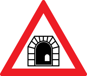 Traffic sign of Romania: Warning for a tunnel