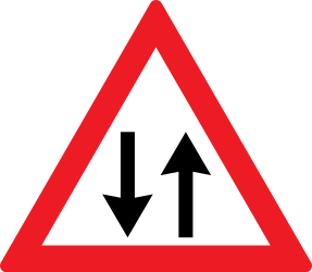 Traffic sign of Romania: Warning for a road with two-way traffic