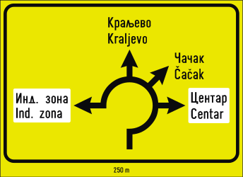 Traffic sign of Serbia: Information about the directions of the roundabout