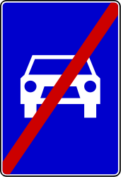 Traffic sign of Serbia: End of the expressway