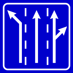Traffic sign of Serbia: Overview of the lanes and their direction