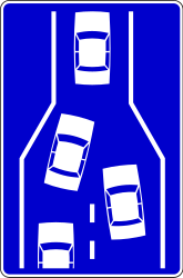 Traffic sign of Serbia: End of a lane