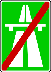 Traffic sign of Serbia: End of the motorway