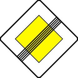 Traffic sign of Serbia: End of the priority road