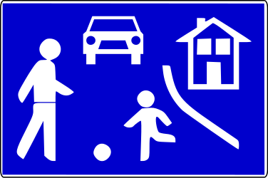 Traffic sign of Serbia: Begin of a residential area