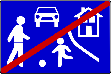 Traffic sign of Serbia: End of the residential area