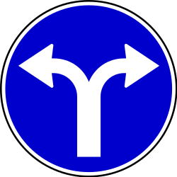 Traffic sign of Serbia: Turning left or right mandatory