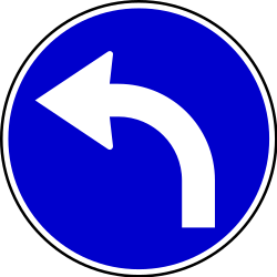 Traffic sign of Serbia: Turning left mandatory
