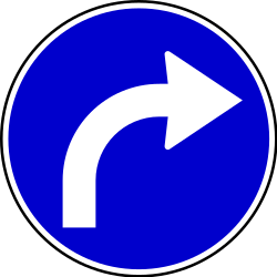 Traffic sign of Serbia: Turning right mandatory