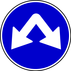 Traffic sign of Serbia: Passing left or right mandatory