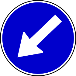 Traffic sign of Serbia: Passing left mandatory