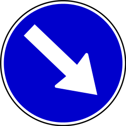 Traffic sign of Serbia: Passing right mandatory