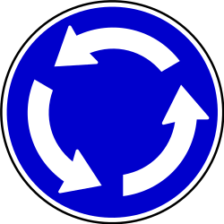 Traffic sign of Serbia: Mandatory direction of the roundabout