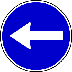 Traffic sign of Serbia: Mandatory left