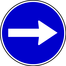 Traffic sign of Serbia: Mandatory right